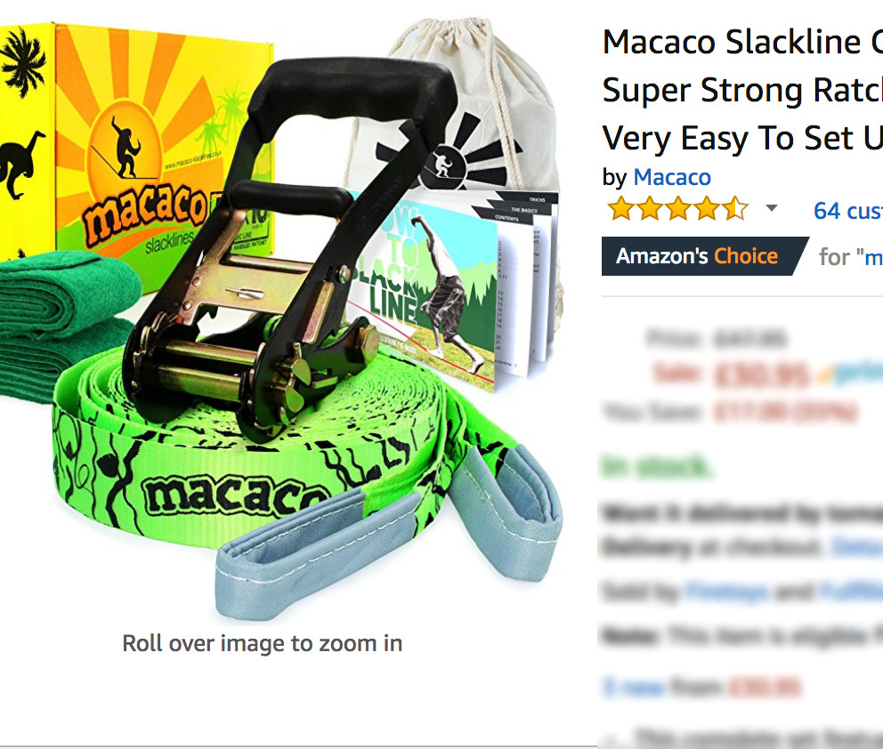 Macaco Slacklines are Amazon best sellers