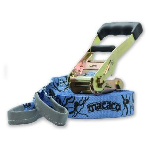 Macaco Travel Slackline with rubber handled ratchet