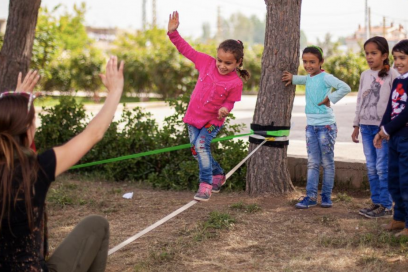 Banishing negative emotions one step at a time: Syrian refugees learn to slackline in Lebanon