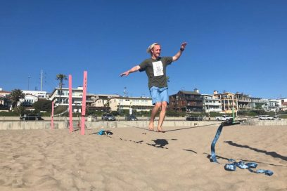 Slackliners Finding Balance on Sands of the South Bay